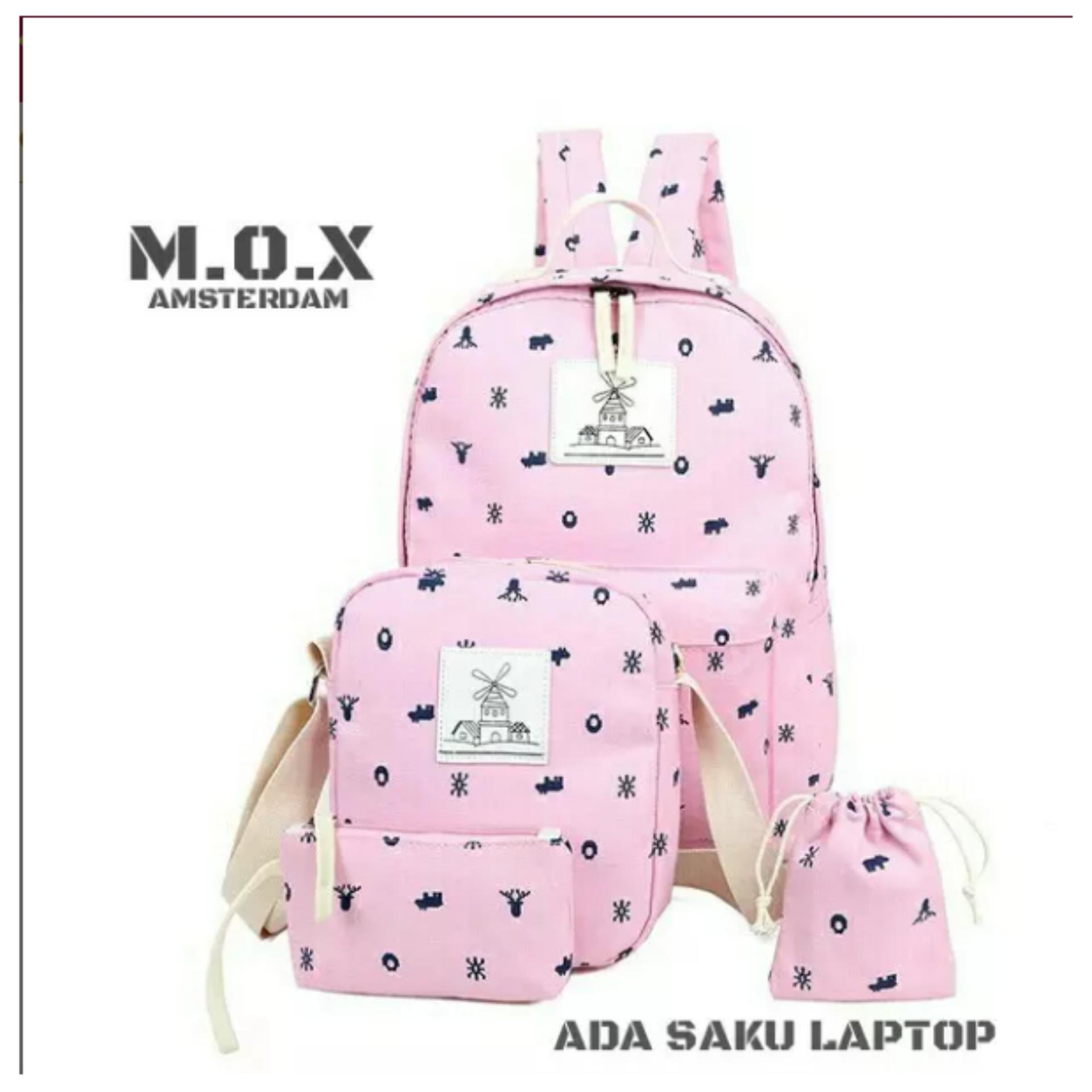 4 In 1 Amsterdam Bag / Tas Wanita / Unisex ( Ransel Backpack + Slempang + Dompet + Pouch HP )