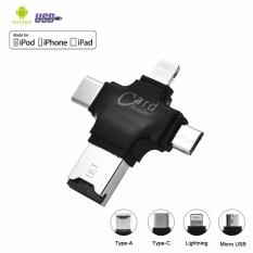 Promo 4 In 1 Lightning Memory Card Reader External Storage Sd Card Adapter With Lightning Apple Android Usb 2 Type C Combo Connector Flash Drive Tf Card Reader For Iphone Ipad Type C Chromebook Macbook Pro Android Phones Hitam Murah