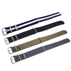 Beli 4 Pcs 4 Warna Berwarna Woven Nilon Kain Penggantian Wrist Watch Band Tali Gelang Sabuk 16 Lbs Dengan Stainless Steel Buckle Gesper 22Mm Lebar Kredit