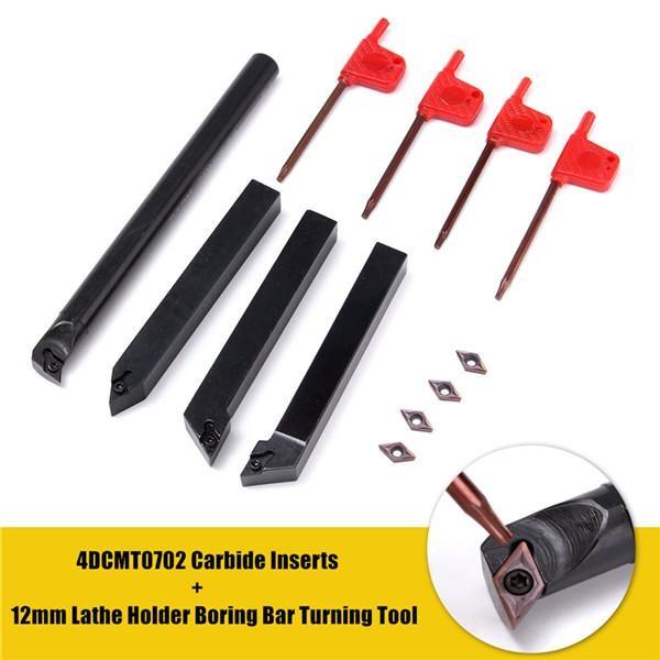 Model 4 Pcs 4Dcmt0702 Carbide Sisipan 4 Pcs 12Mm Bubut Dudukan Membosankan Bar Alat Putar Internasional Terbaru