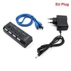 4 Port Dipimpin Pengganti Kampanye Versus Usb 3.0 Hub With On/OFF Switch Power Adapter For Laptop Uni Eropa Plug