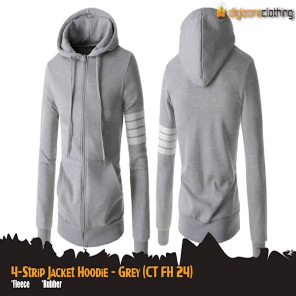 4-Strip Jacket Hoodie Grey (CT FH 24)