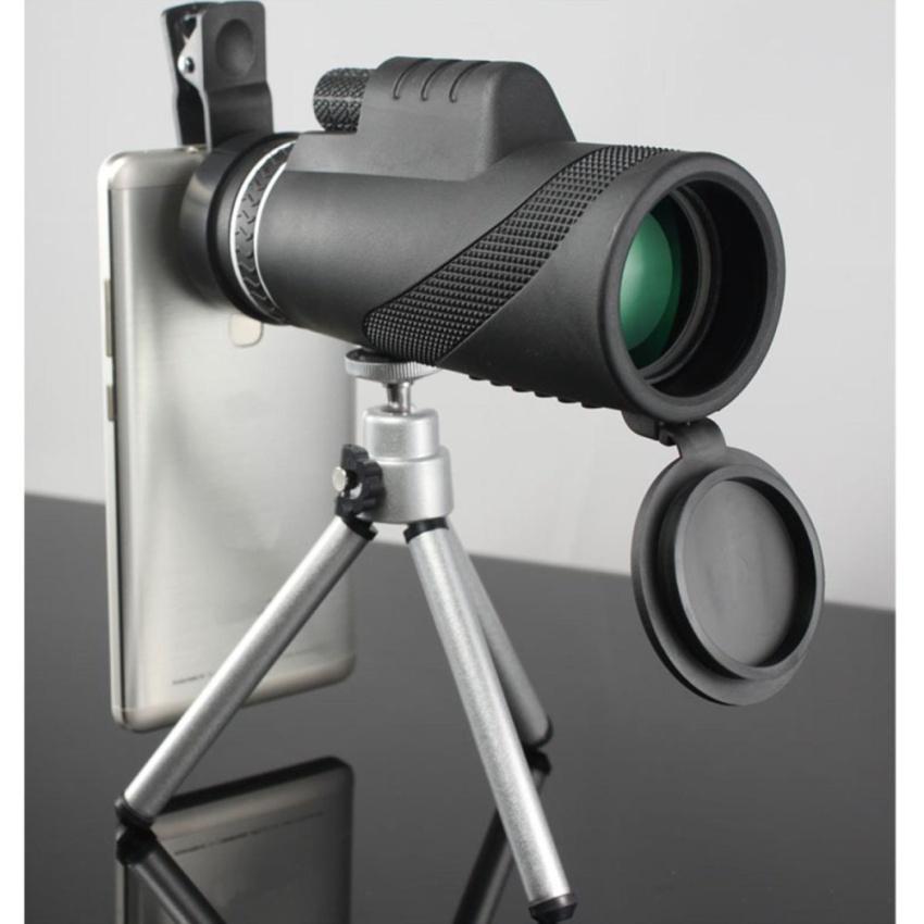 Promo 40 X Zoom Hd Optical Bermata Teleskop Lensa Ponsel Kamera Tripod 7319 Hitam Oem