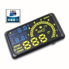 4C Auto HUD 5.5 Layar Otomatis OBDII Mobil HUD OBD2 Port Head-Up DisplayKM/H MPH Overspeed Warning Kaca Depan Proyektor Alarm System-Intl
