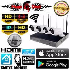 Spesifikasi 4 Channel Wifi Wireless Nirkabel Cctv Hd Kit Set Peluru Kamera Adaptor Dan Braket Gratis 1 3Mp 960P Untuk Kamera Nvr Mendukung 720P 960P 1080P Tahan Air Oem