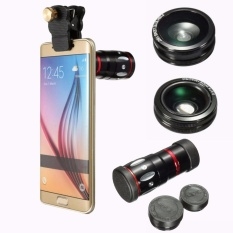 Spesifikasi 4In1 10X Zoom Telephoto Mata Ikan Sudut Lebar Micro Clip Lensa Untuk Iphone 6 S 6 Intl Terbaik