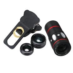4 In 1 Kamera Eksternal Lensa Sudut Lebar Mata Ikan Makro 10 X Tele For Handphone Hitam Internasional Vakind Diskon 30