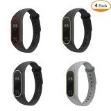 Ulasan Tentang 4Pcs Soft Silicone Strap Replacement Band For Mi Band 2 Bracelet Fitness Tracker Watch Intl