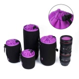 Cara Beli 4 Pcs Set Bahan Menyelam Case Soft Camera Lens Protector Camera Lens Pouch Bag Intl