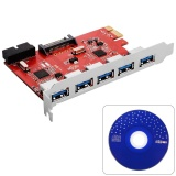 5 Port Usb 3 To Pci E Pci Express Card Motherland 19Pin 5 0Gbps Add On Card Adapter Converter For Windows Xp 7 8 Ac317 Intl Asli