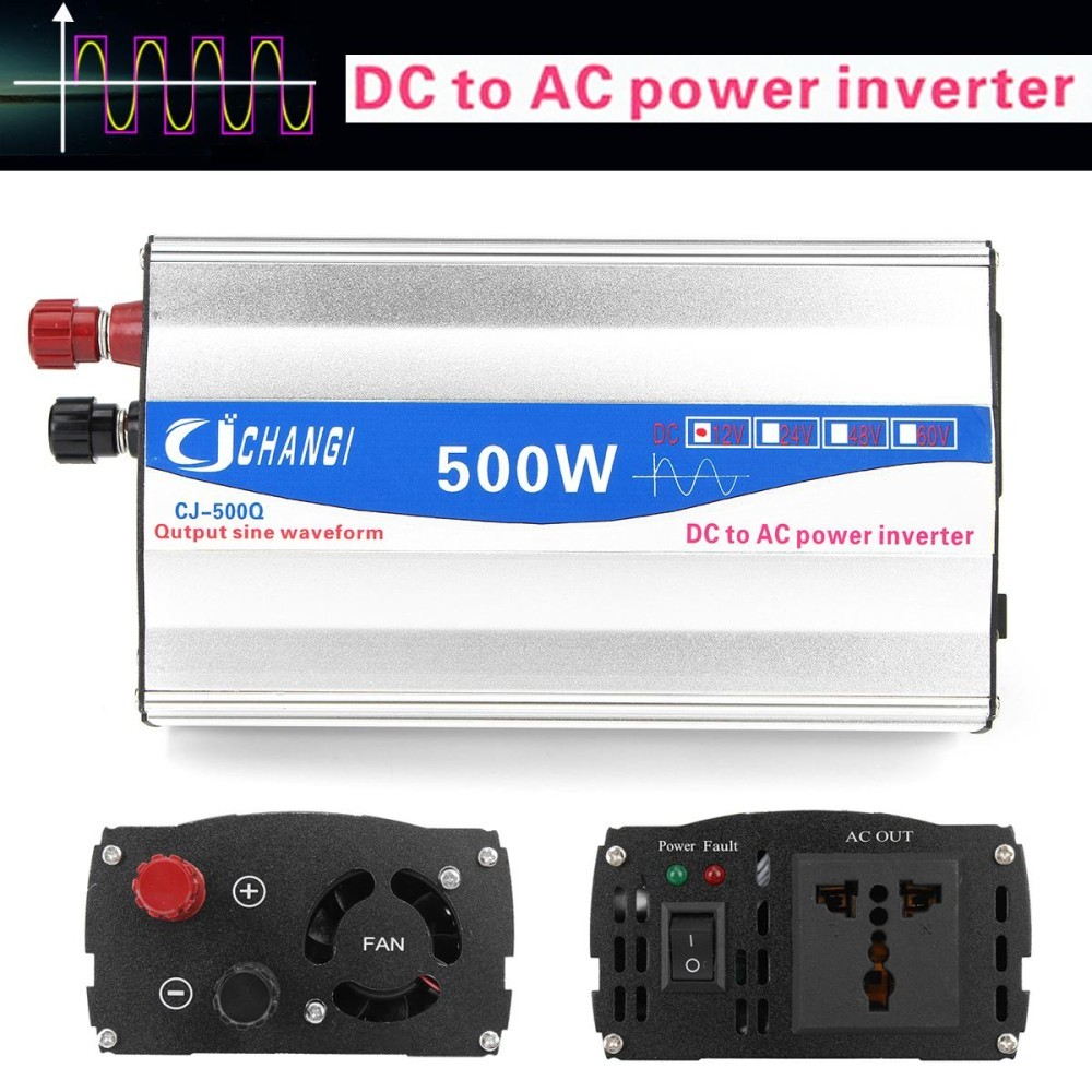 Review Toko 500W Car Power Inverter Pure Sine Wave 12V Dc To 220V Ac Transmitter Converter Intl Online