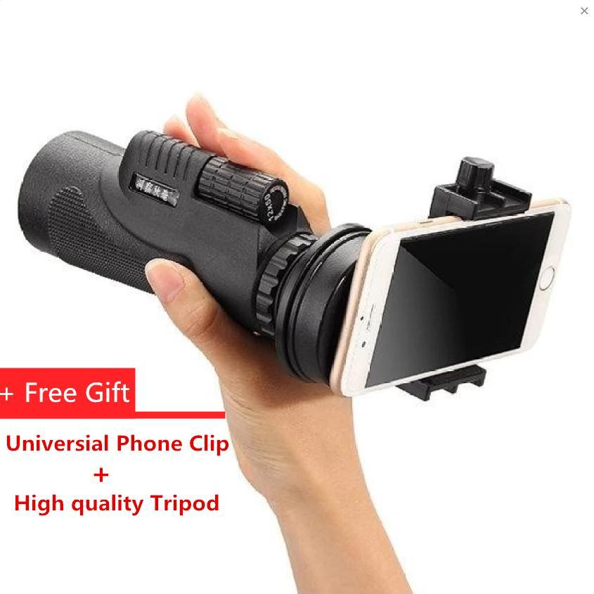 Promo 50X Zoom Hd Optical Monocular Telescope Lens Mobile Phone Camera Tripod Black Intl Di Tiongkok