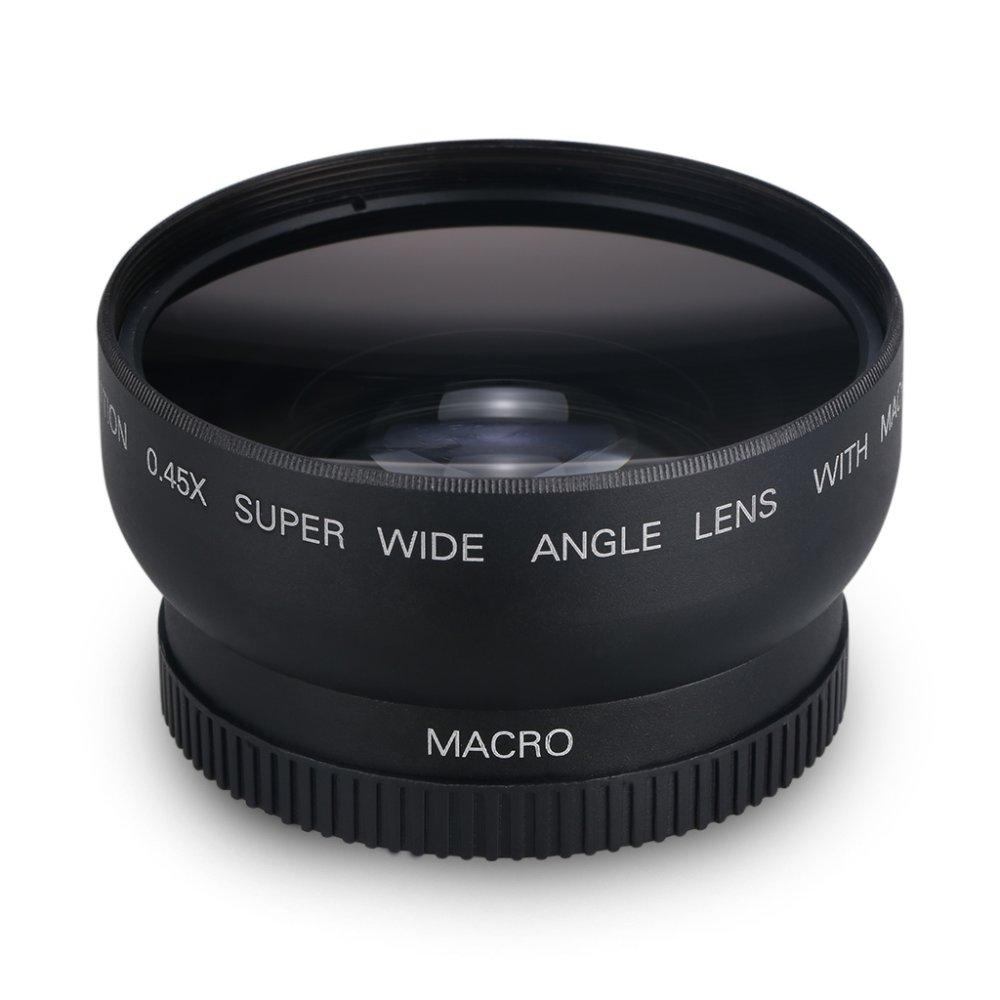 52mm 0.45X Film Dilapisi Lensa Sudut Lebar Digital Definisi Tinggi untuk Canon Rebel (Hitam)
