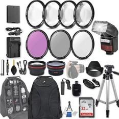 58 Mm 28 Aksesoris PC Perlengkapan untuk Canon EOS Rebel T6, T5, T3, 1300D, 1200D, 1100D DSLR dengan 0.43x Wide Angle Lens, 2.2x Lensa Telefoto LED-Flash 32 GB SD, filter & Makro Kit, Ransel, dan Banyak Lagi-Intl