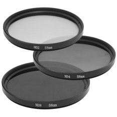 58mm Neutral Density ND2 ND4 ND8 ND 2 4 8 Filter Set dari 3 58mm untuk Canon LF062-SZ (hitam)
