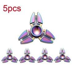 Jual 5 Multicolor Rainbow Fidget Hand Spinner Edc Kepiting Clover Hand Finger Spinner Action Figures Toys Paduan Logam Stres Roda Internasional Tiongkok