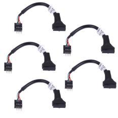5 Buah 20/19 Pin USB 3.0 untuk Perempuan 9 Pin USB 2.0 Kabel Papan Induk Jantan-Internasional