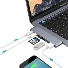 6 Dalam 1 Paduan Aluminium 5 Gbps Transfer Kecepatan Ganda USB-C/Adaptor HUB Tipe C dengan 2 USB 3.0 Port & 2 USB-C/Type-c Port & Slot Kartu SD & Kartu TF slot untuk MacBook 2015/2016/2017 (Grey) -Internasional