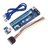 Iklan Justgogo 60Cm Pci E Express 1X To 16X Usb 3 With Sata 15Pin To 4Pin Power Cable Powered Extender Graphics Card Blue
