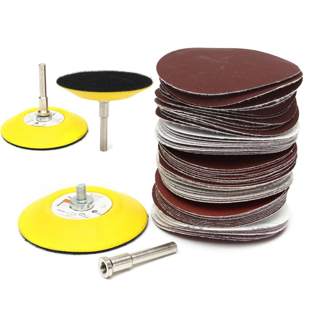 60pcs 3 Inch 75mm Polishing Grit Disc Sanding Pad Polishing Sandpaper Shank Set - intl