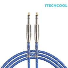 6.35 Mm Pria KE Pria Kabel Audio Gitar Listrik Mixer Ganda Channel Kabel (Biru) -1 M-Internasional