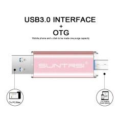 64 GB Komputer Android Mobile 2 In 1 Orisinalitas Logam Warna Cerah OTG Double Plug USB Drive (Pink) -Intl