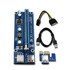 6Pin Cable PCIe PCI-E PCI Express Riser Card 1x to 16x USB 3.0 Data Cable SATA to 6Pin IDE Molex Power Supply for BTC Miner Machine - intl