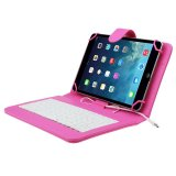 Jual Beli 7 Inch Universal Leather Case Cover With Micro Usb Keyboard For Tablet Pc Hot Pink Di Hong Kong Sar Tiongkok