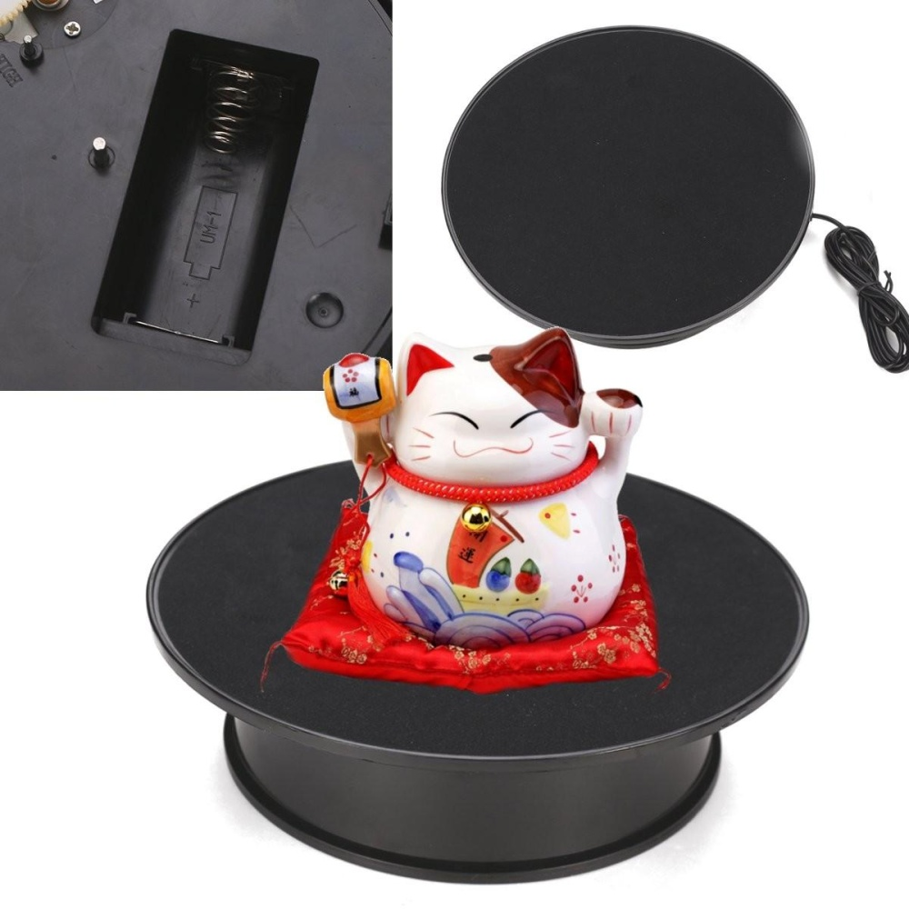 8 ''Anti-slip ABS Hitam Berputar Turntable Display Stand Power Oleh AC & Baterai-Intl