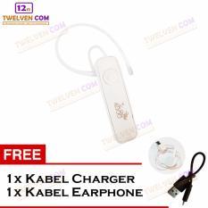 888 Wireless Bluetooth Earphone - Putih - Free Kabel Charge dan Kabel Earphone