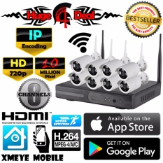 Toko 8 Channel Wifi Wireless Nirkabel Cctv Hd Kit Set Peluru Kamera Adaptor Dan Braket Gratis 1Mp 720P Untuk Kamera Nvr Mendukung 720P 960P 1080P Tahan Air Murah Tiongkok