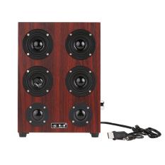 Promo 9 4 Inci Kulit Kayu 3 5Mm Sistem Suara Stereo Hi Fi Speaker Musik Subwoofer Internasional Hong Kong Sar Tiongkok