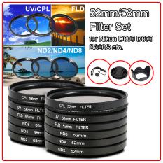 9 Buah Set Filter + Penutup Lensa 52mm For Nikon D7100 D5200 D3200