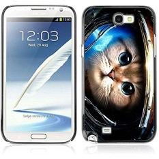 A-type Colorful Printed Hard Protective Back Case Cover Shell Skin for Samsung Galaxy Note 2 II / N7100 ( Cute Astronaut Kitty Cat ) - intl