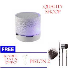 ABADIuNiQue Mini LED Bluetooth Speaker S10 LED Light - White  +PREE PISTON2+ KABEL DATA OPPO