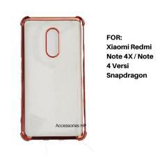 Accessories HP Anti Shock / Anti Crack List Chrome Soft Case for Xiaomi Redmi Note 4X / Note 4 Versi Snapdragon - Rosegold
