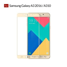 Accessories Hp Full Cover Tempered Glass Warna Screen Protector for Samsung Galaxy A3 2016 / A310 - Gold