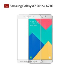 Accessories Hp Full Cover Tempered Glass Warna Screen Protector for Samsung Galaxy A7 2016 / A710 - White
