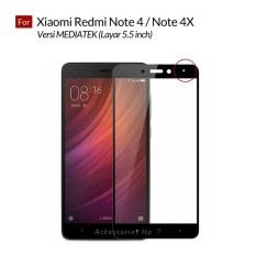 Accessories Hp Full Cover Tempered Glass Warna Screen Protector for Xiaomi Redmi Note 4 / Note 4X Versi MEDIATEK 5.5 Inch - Black
