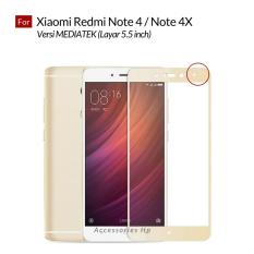 Accessories Hp Full Cover Tempered Glass Warna Screen Protector for Xiaomi Redmi Note 4 / Note 4X Versi MEDIATEK 5.5 Inch - Gold