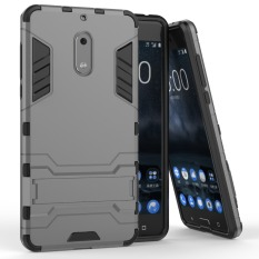 Accessories HP Transformer Rugged Kickstand Slim Armor Hardcase for Nokia 6 - Grey