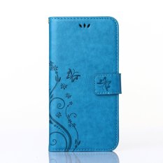 Acer Liquid Z5 Case, CLOUDSEA PU Embossed Butterfly & Flower Leather Wallet Stand Flip Case untuk Acer Liquid Z5 (biru)-Intl