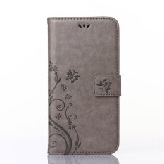 Acer Liquid Z5 Case, CLOUDSEA PU Embossed Butterfly & Flower Leather Wallet Stand Flip Case untuk Acer Liquid Z5 (abu-abu)-Intl