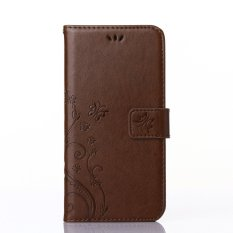 Acer Liquid Z5 Case, CLOUDSEA PU Embossed Butterfly & Flower Leather Wallet Stand Flip Case untuk Acer Liquid Z5 (coklat Muda) -Intl