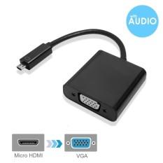 Aktif Mini HDMI untuk VGA Adaptor dengan Audio Penyangga Hitam Pria Tofemale dengan 3 Kaki Mikro Usb Kabel Daya- untuk Mini HDMI Enabledultrabooks Tablet ...