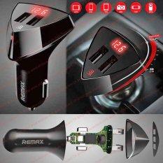 Adaptor Cas HP Gadget Di Mobil 12V 24V 3.4A Cellphone Car REMAX ALIENS Cigarette Plug Charger ORIGINAL Accu Voltage Display