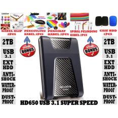 Adata External Hdd 2Tb Usb 3.1 Adata HD650 Antishock / Waterproof / Dustproof / Ext HDD Adata 650 / Hardisk External - Hitam + Gratis Case Hdd 1pcs + Klip Kabel 2pcs + Penggulung Kabel 2pcs + Pengikat Kabel 2pcs + Spiral Pelindung Kabel 2pcs