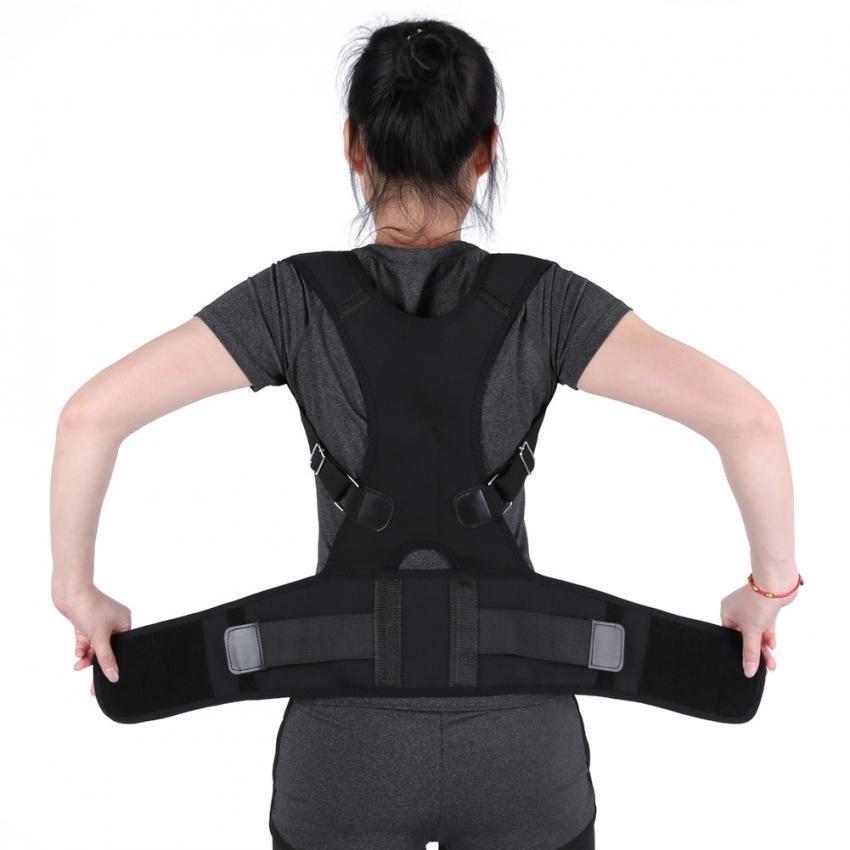 Adjustable Postur Benar Sabuk Kembali Lumbar Support Korektor Bahu Band (Hitam XL)-Intl