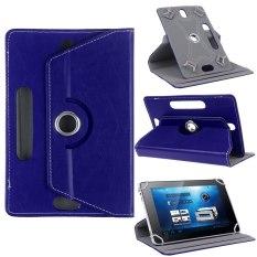 Yg Dpt Mengatur PU Kulit 360 Case Berdiri Menggantikan 10,1 10 9 8 7 Android Tablet (biru Tua)