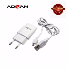 ADVAN charger adapter 2in1 with deta chable USB data cable for android - Putih